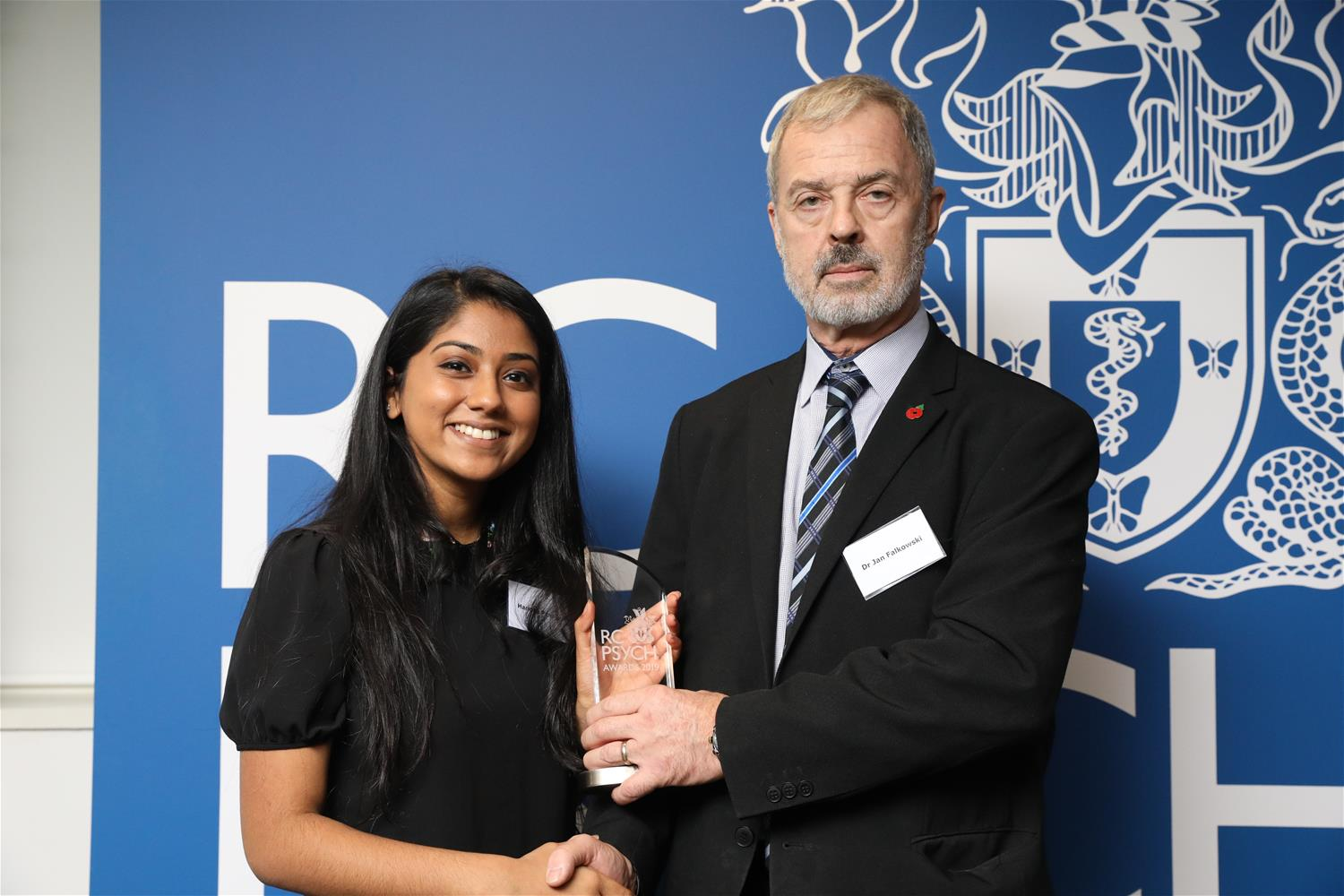 Haridha Panadian receives her award