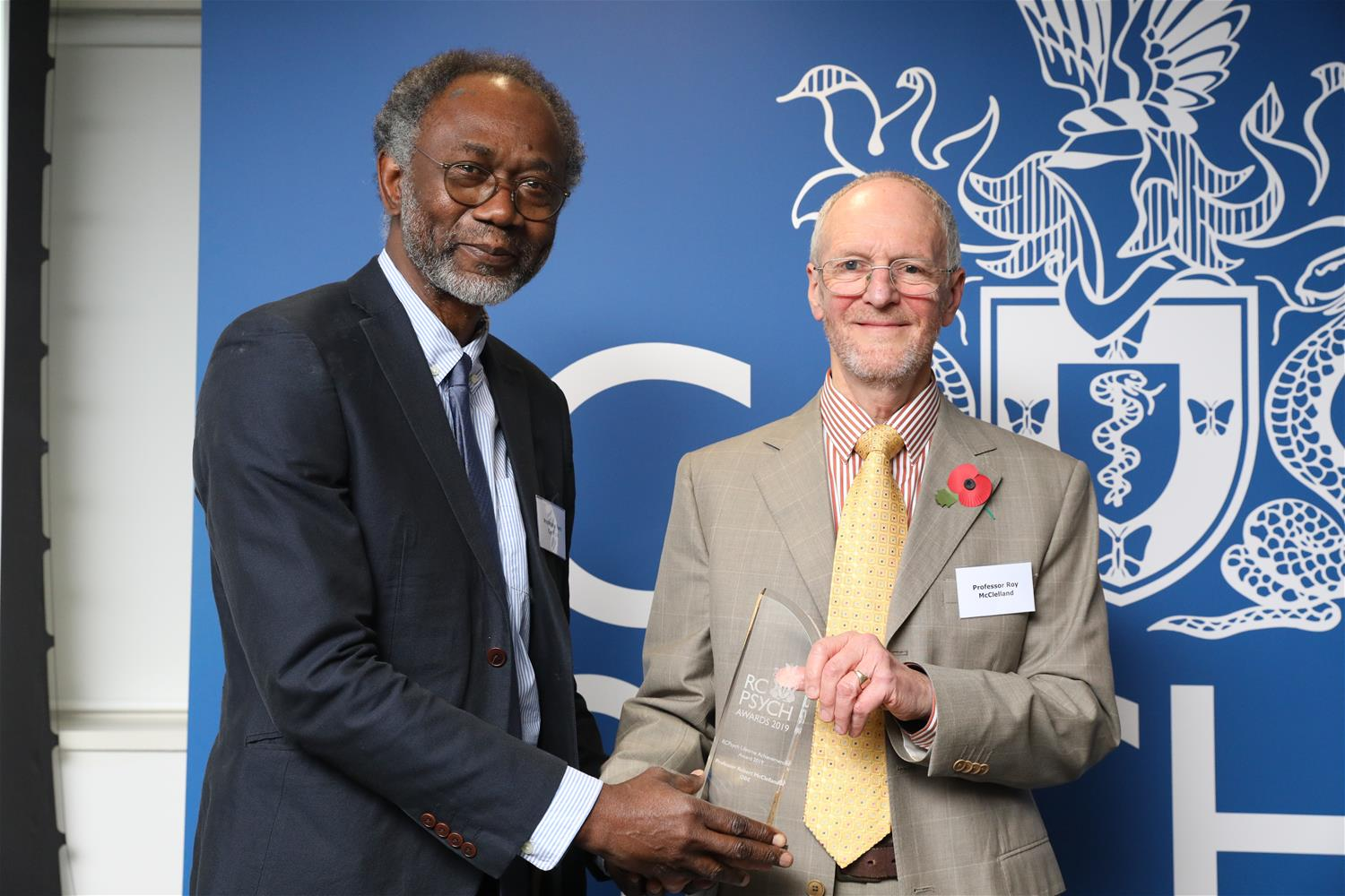 Professor Roy McClelland receives his award