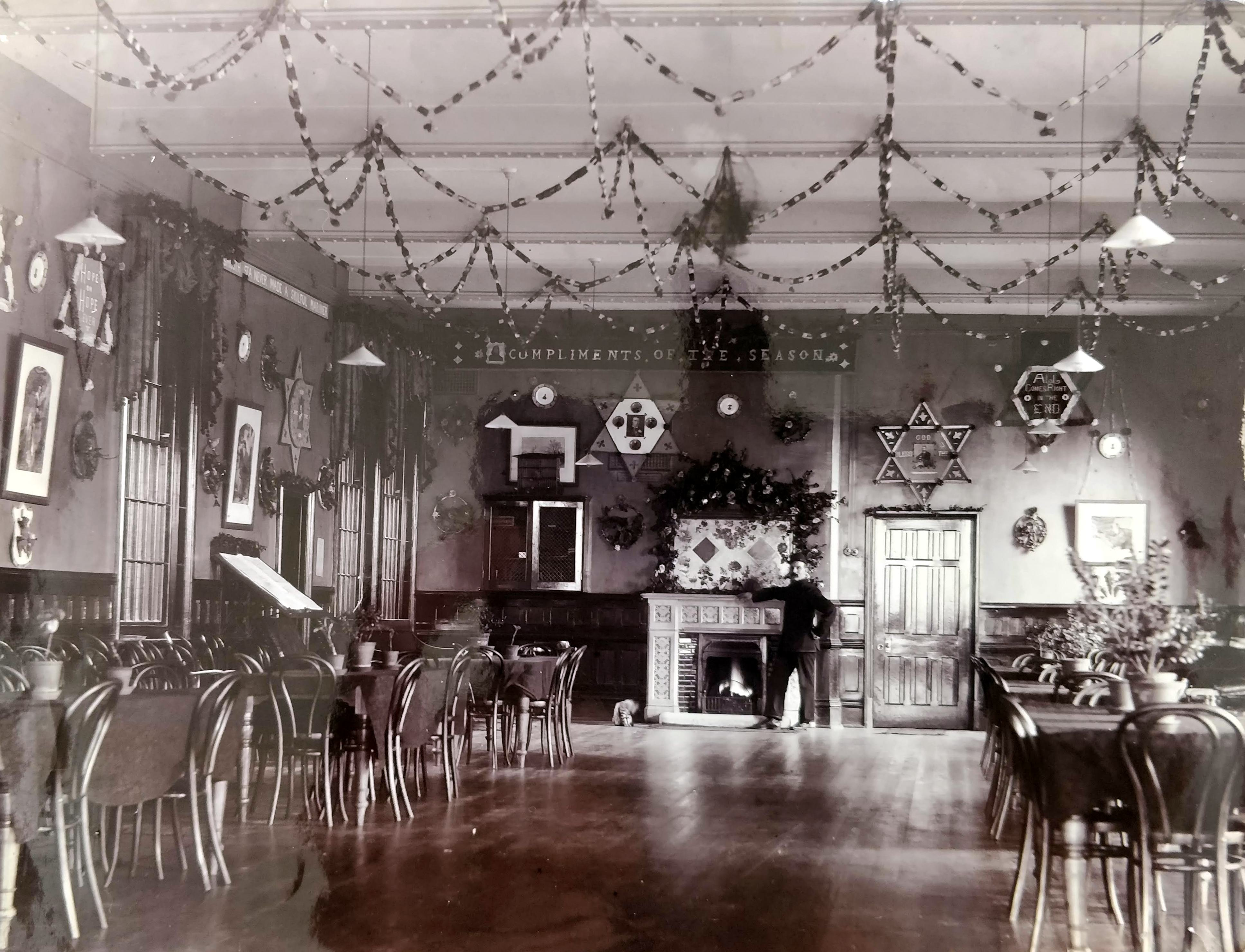 Ward decorated for Christmas, Claybury Asylum c.1900 (RCPsych Archives)