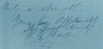 Williams Martin's greeting and signature, in letter to Queen Victoria. Reproduced with permission from Bristol Archives