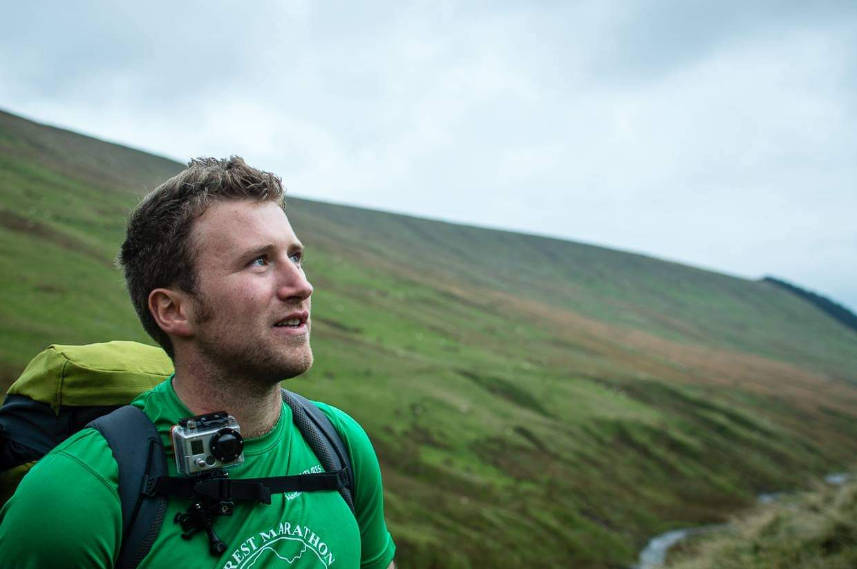 Surgeon Lieutenant Commander Charlie Baker on Welsh hillside